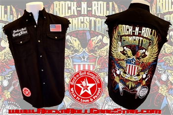 american gothic v2 denim cut off sleeveless biker shirt rock n roll heavy metal clothing apparel. Black Bedroom Furniture Sets. Home Design Ideas