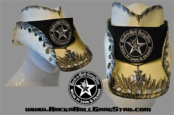 custom shapeable cowboy hat white with black treatment version 7 rock and roll heavy metal hats. Black Bedroom Furniture Sets. Home Design Ideas