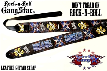 dont tread on rock n roll leather guitar strap rock n roll heavy metal guitar accessories. Black Bedroom Furniture Sets. Home Design Ideas