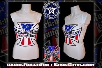 4c916dcc6a088 Red White   Blue Iron Cross Boy Beater Tank Top Biker Motorcycle Rock n  Roll Heavy