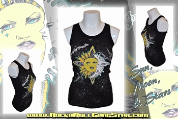 379141913669e Sun Moon   Stars Boy Beater Tank Top Rock n Roll Heavy Metal girls t shirt