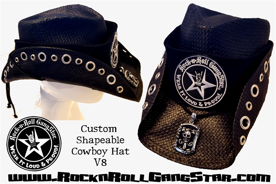 5f8fa3c00dbe8a Custom Shapeable Cowboy Hat black version 8 Rock and Roll Heavy Metal hats  accessories