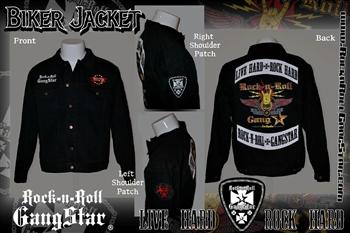 Denim Biker Jacket With Custom Patch Work
